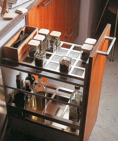 This Pull Out Kitchen Cabinet Come With Awesome Built In Spice Organizer.