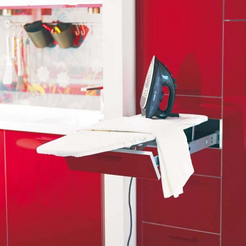 Did you know that a small pull out drawer could become a fully functional ironing board?