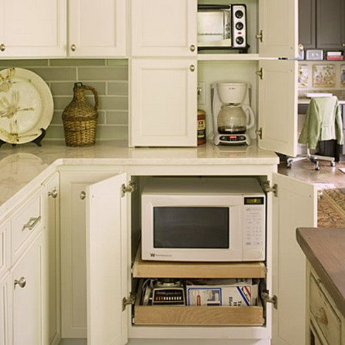 Pull Out Shelves Are Perfect For Small Kitchen Appliances.