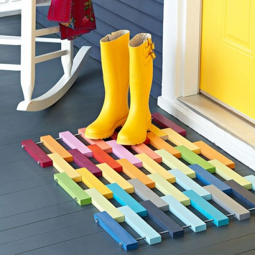 DIY Rainbow Wooden Entry Mat