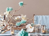 Real Blooms And Paper Flowers Centerpiece