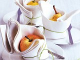 pears and apples wrapped in napkins are amazing for marking each place setting
