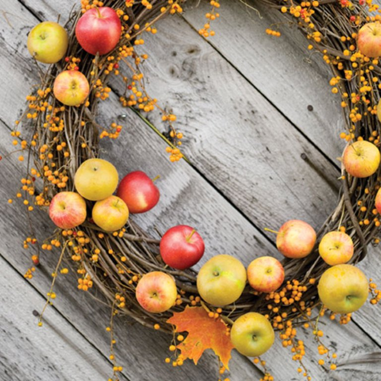 a vine wreath with fall leaves, berries and bright apples is a beautiful and easy rustic decoration for the fall
