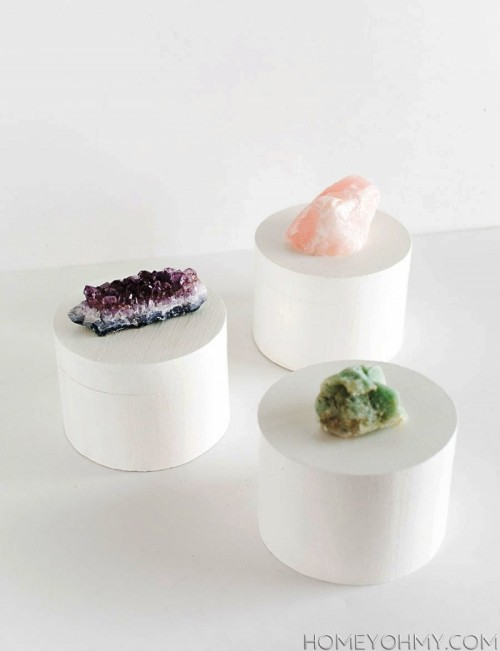 Refined DIY Crystal Knob Storage Boxes