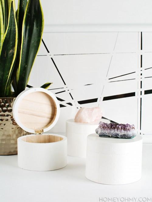 Refined DIY Crystal Knob Storage Boxes