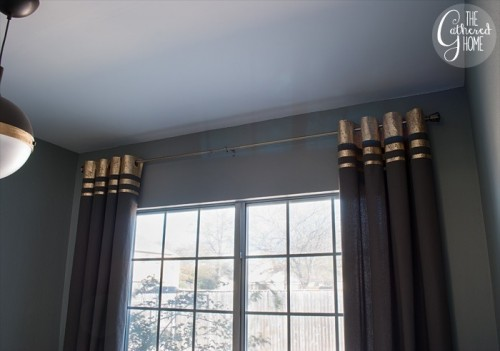 Refined DIY Gold Leaf Embellished Curtains