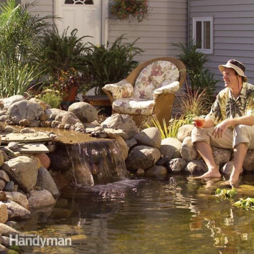 9 relaxing diy outdoor ponds shelterness for Build your own waterfall pond