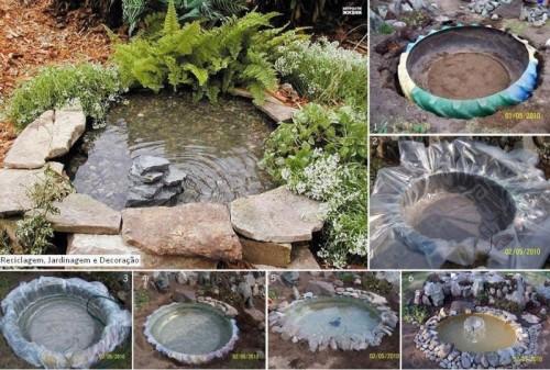 tractor tire garden pond