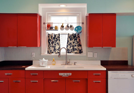 Retro kitchen design ideas shelterness - Red kitchen cabinets ideas ...