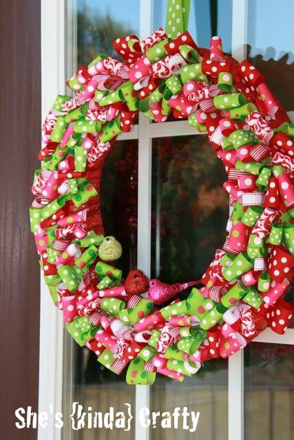 DIY Christmas Ribbon Wreath And Tree