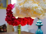 faux flowers lamp