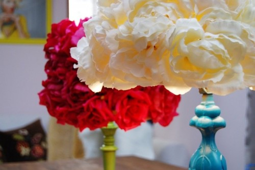 faux flowers lamp