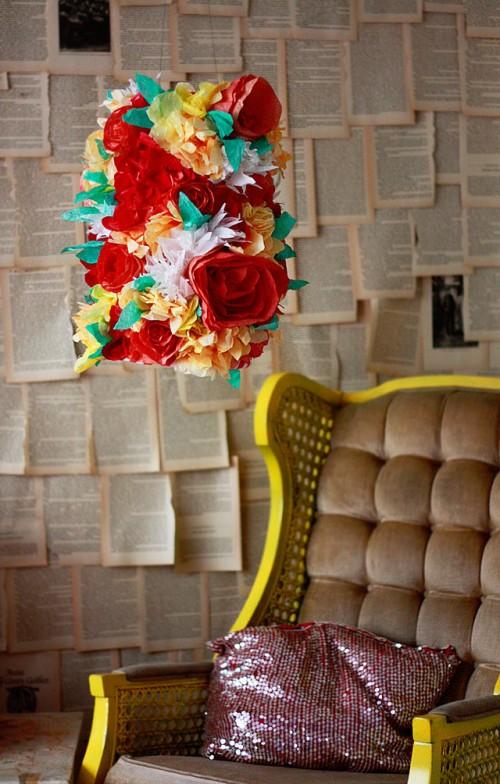 paper flower lamp (via auntpeaches)