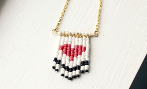 DIY beaded heart necklace