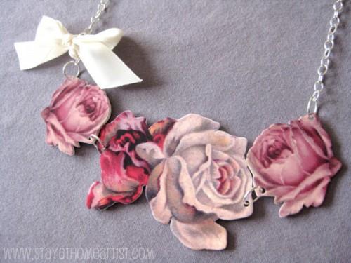 DIY floral statement necklace (via stayathomeartist)