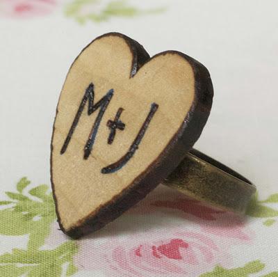 DIY woodburned heart ring