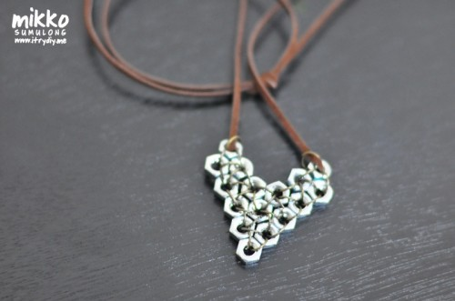 DIY hex nut pendant