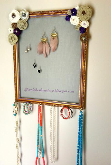 jewelry organizer with fabric flowers (via lifeonlakeshoredrive)