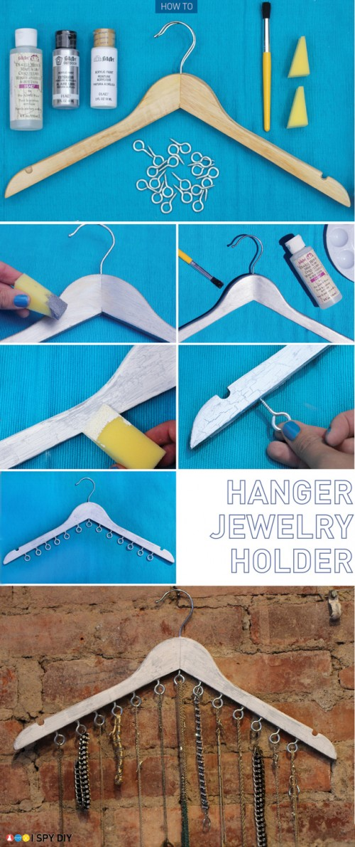 clothes hanger jewelry holder (via ispydiy)