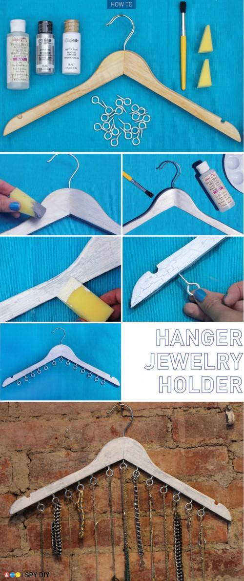 clothes hanger jewelry holder (via ispydiy)