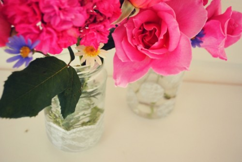 Romantic Lace Jars As Vases And Candle Holders