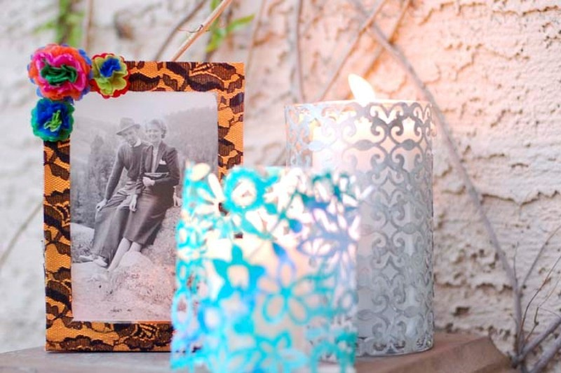 Picture Of romantic lacy candle holders of filigree and papel picado  3