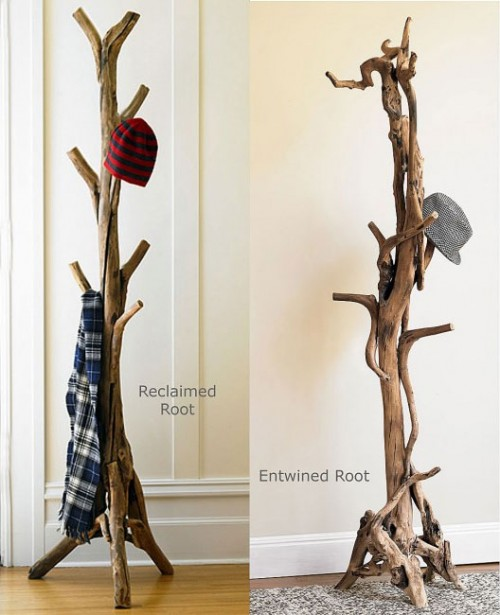 a cool coat stand made of real tree roots and trunks