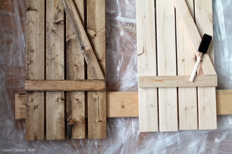 picture of rustic diy barn wood shutters