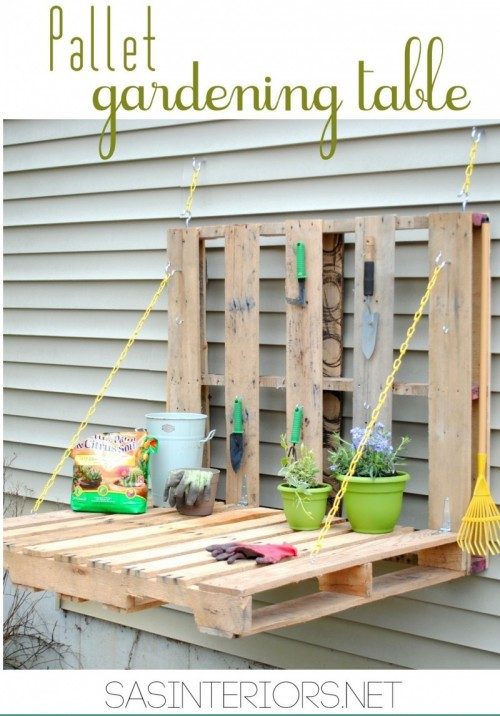 pallet gardening table (via shelterness)