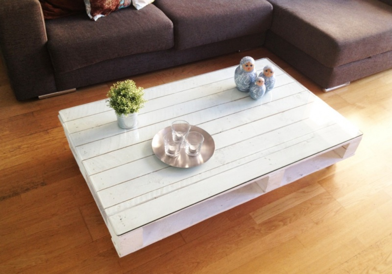 pallet table with a glass top