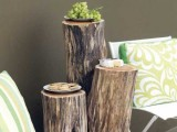 outdoor wooden table of logs