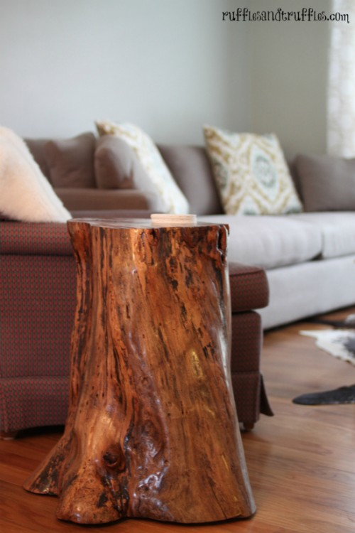 Ideal easy tree stump table via rufflesandtruffles