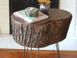 stump table with metal legs