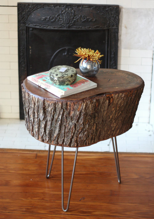 stump table with metal legs (via 17apart)