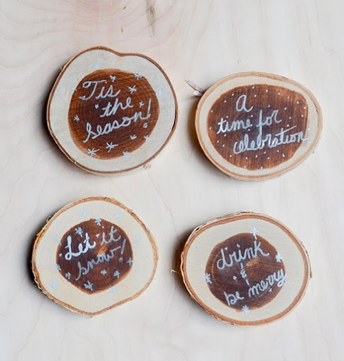 Rustic diy winter inspired coasters shelterness for Diy rustic coasters