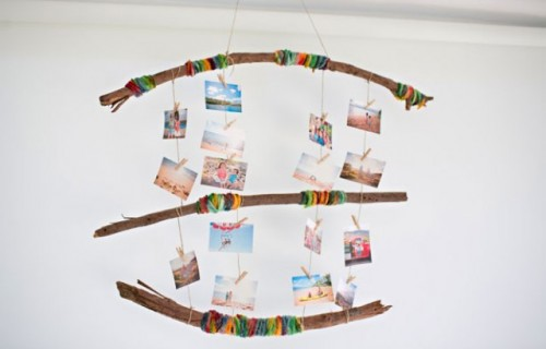 Rustic DIY Yarn Wrapped Photo Mobile