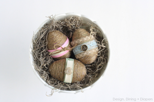 twine and lace Easter eggs