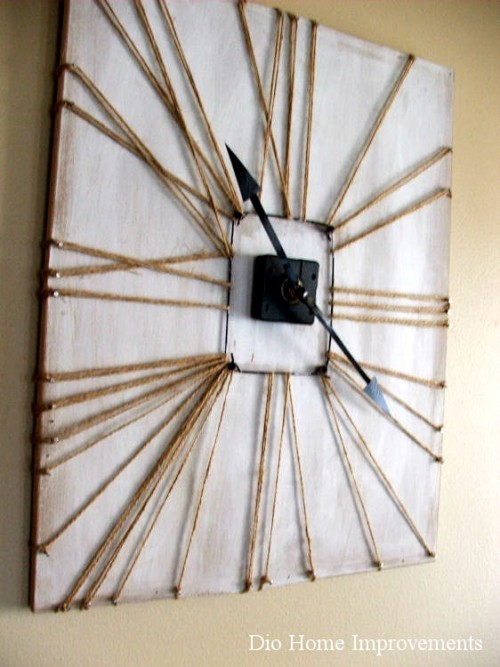 twine wrapped clock (via diohomeimprovements)