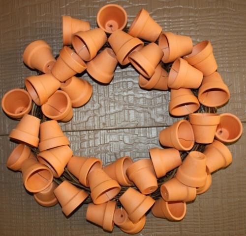 clay pot wreath