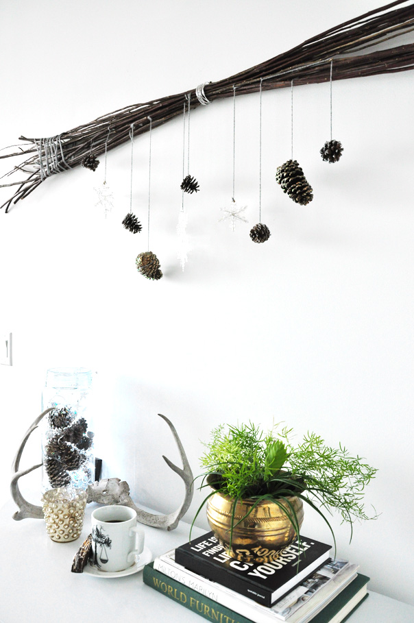 twigs and pinecones decoration