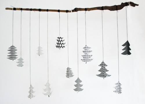 black and white fir tree decoration (via look-what-i-made)