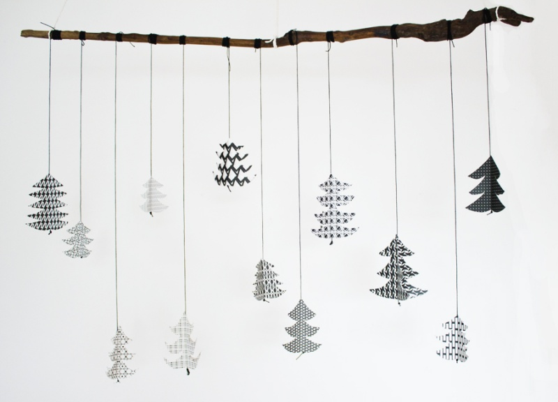 black and white fir tree decoration