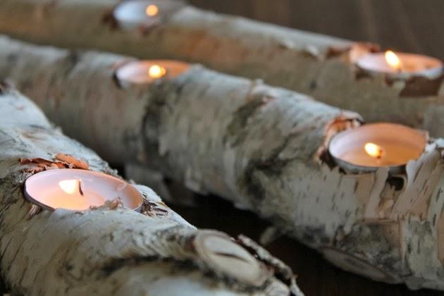 birch log fire light