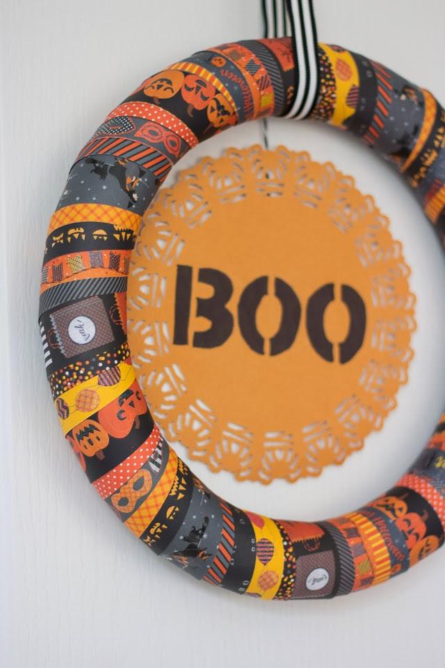 masking tape Halloween wreath