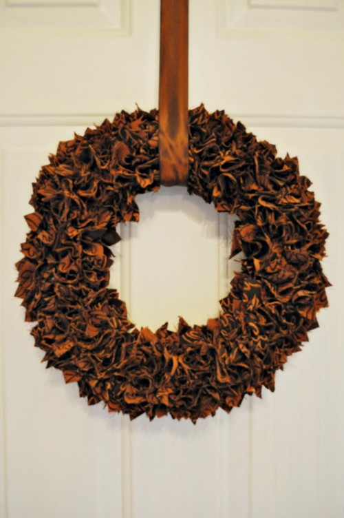 Scrap Fabric Thanksgiving Wreath