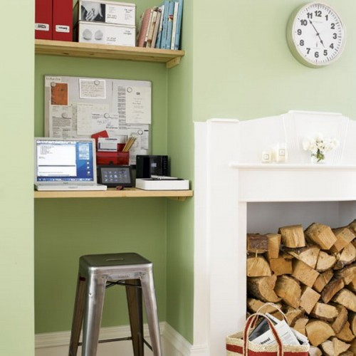 One more example of how simple shelves could occupy an awkward niche. This time even the desk itself is a simple shelf.
