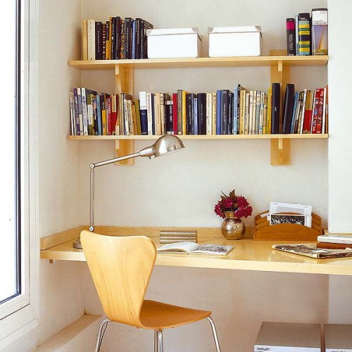 Shelves could hold not only folders with files but books too.