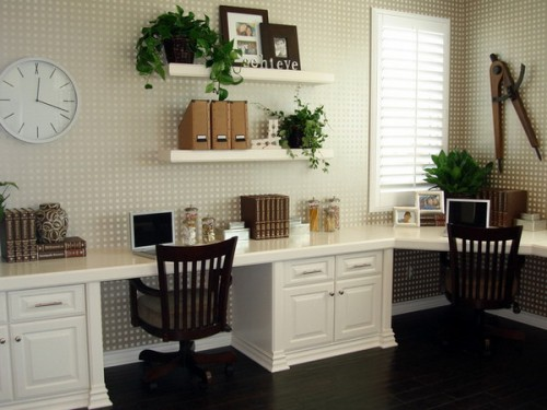 You can put greenery on floating shelves and your home office would look much more alive.