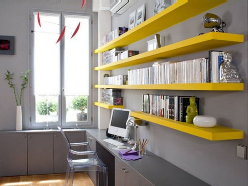 Floating shelving could add a color splash to a bland environment.
