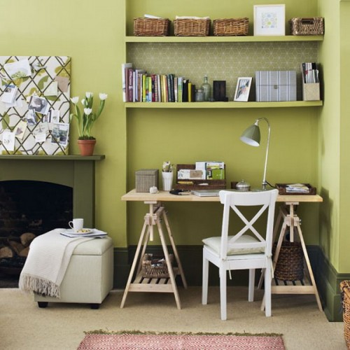 If you have an awkward niche it's a great space to put a desk and floating shelves in it. They would look like built-ins.